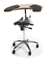 Salli Twin Saddle Chair with Elbow Table and Thin Armpads