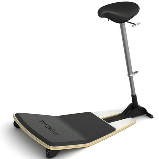 Locus Seat with black cushion, white base and anti-fatigue mat