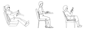 Lumbar supports and seat wedges can be used for driving, office work, and relaxed sitting